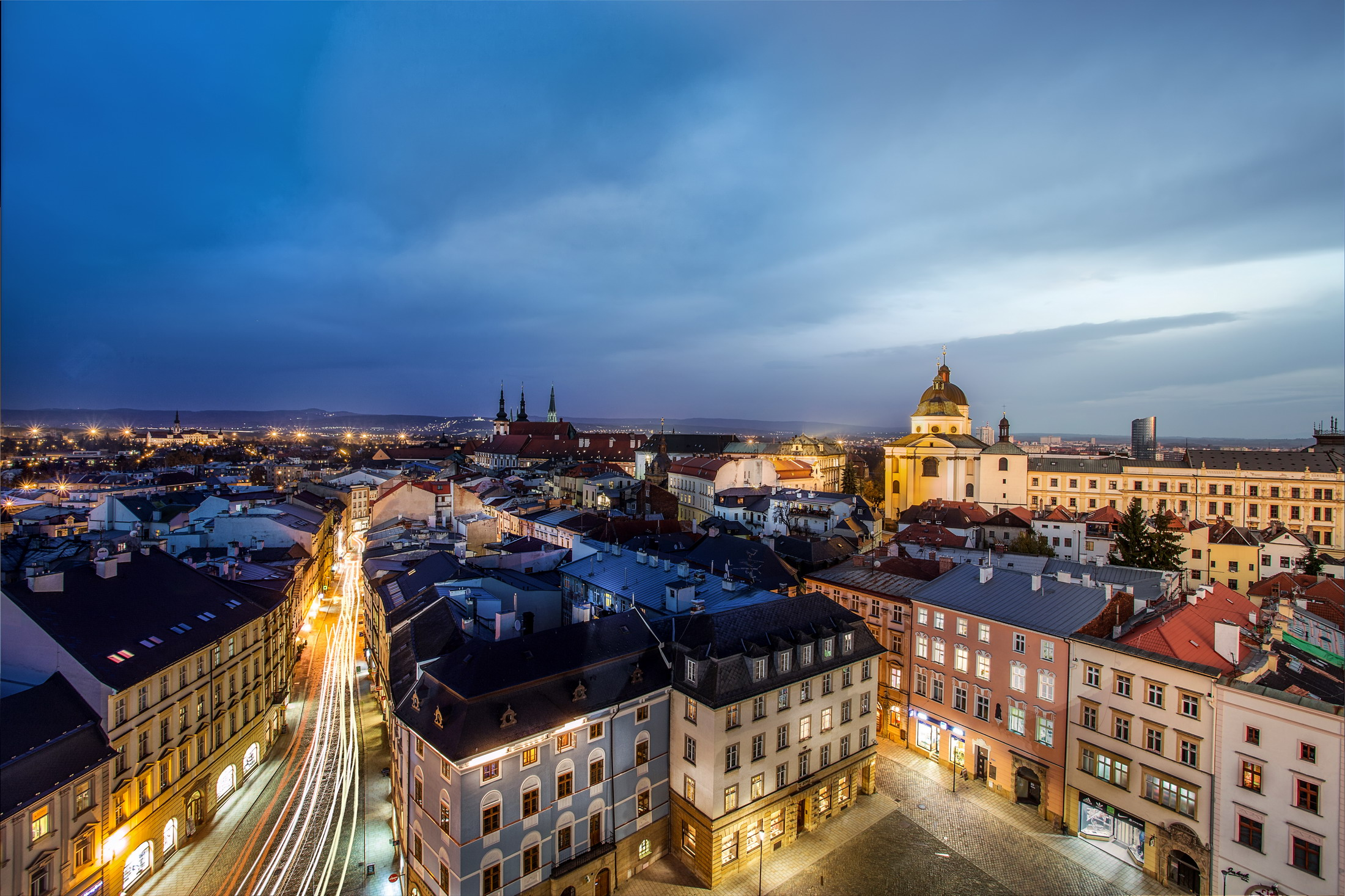 Night-time Olomouc from the Town Hall Tower